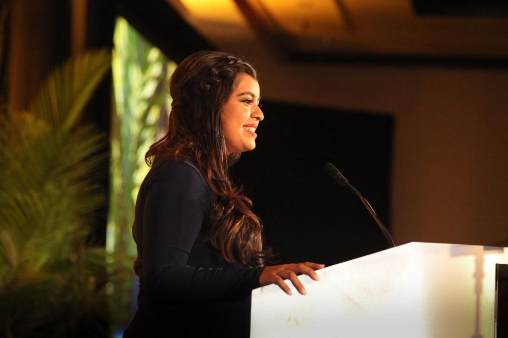 Lauren Mora Speaking and Smiles