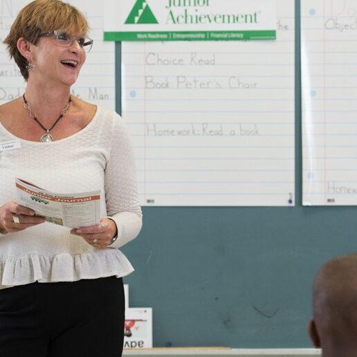 Junior Achievement programs at Yeatman Liddle Middle School and Lexington Elementary School in St. Louis, Missouri.  October 26 and 27, 2017.  Photo by Ellen Jaskol.